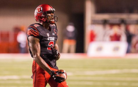 Wide receiver Kenneth Scott (2) celebrates after a catch in a Pac-12 football game against the Arizona State Sun Devils at Rice-Eccles Stadium in Salt Lake City, Saturday, Oct. 17, 2015. Ari Davis for the Daily Utah Chronicle.