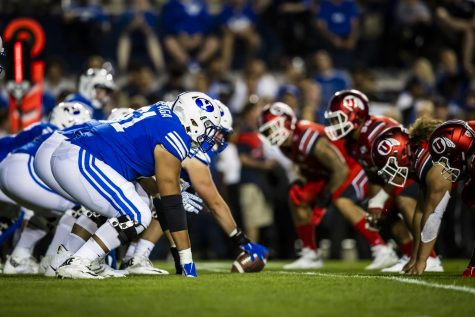 BYU's offensive linemen and Utah's defensive linemen square off prior to a snap on Aug. 29, 2019, at LaVell Edwards Stadium. (Jaren Wilkey/BYU Photo)