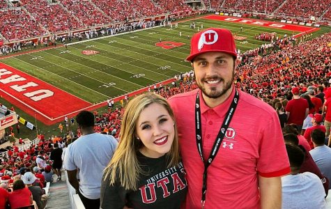 Cole Bagley (Right) and his wife Dani Bagley (left) at Rice Eccles Stadium in 2018.