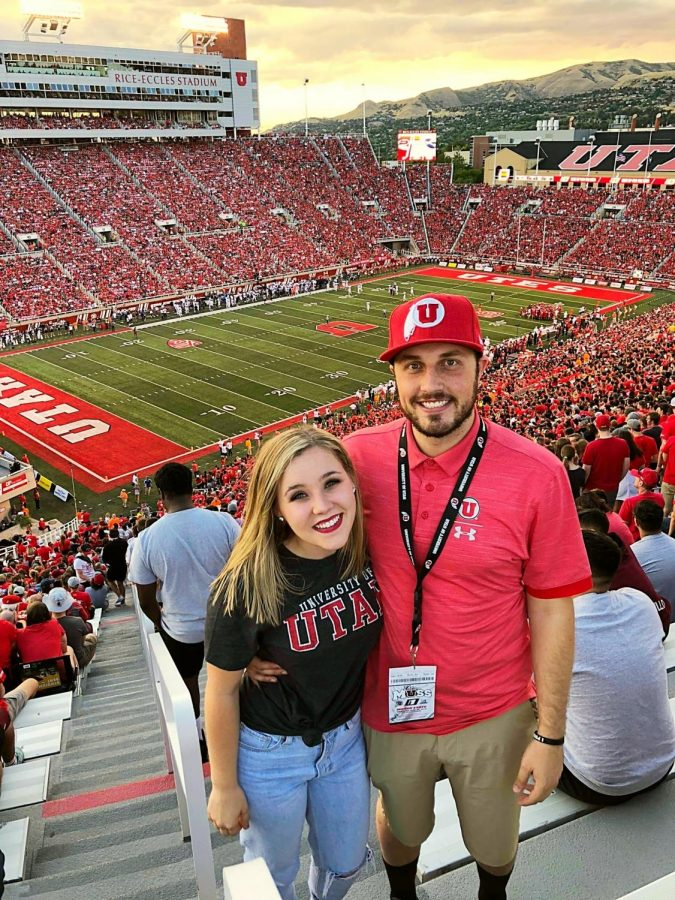 Cole+Bagley+%28Right%29+and+his+wife+Dani+Bagley+%28left%29+at+Rice+Eccles+Stadium+in+2018.