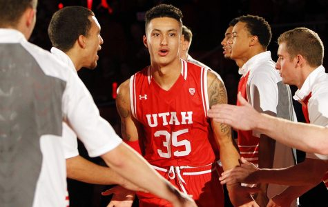 Redshirt sophomore forward Kyle Kuzma (35) is introduced before an NCAA men's basketball game against the BYU Cougars at the Jon M. Huntsman Center, Wednesday, Dec. 2, 2015. Chris Samuels, Daily Utah Chronicle.